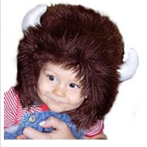 Buffalo hat with horns for baby.